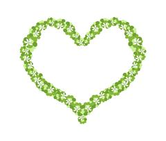 White Flowers and Green Leaves Forming in Heart Shape - stock illustration