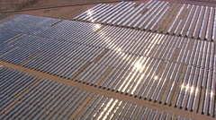 High flight over solar collection plant Stock Footage