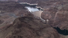 Crossing the Colorado River, aerial view of Hoover Dam Stock Footage