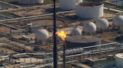 Aerial view of crude oil refinery Stock Footage