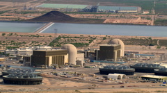 Flight around Palo Verde Nuclear Power Plant Stock Footage