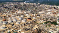 High flight over oil refinery Stock Footage