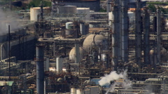 Aerial view of crude oil processing plant Stock Footage