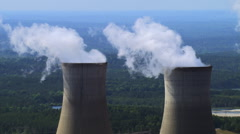 Orbiting nuclear cooling towers - stock footage