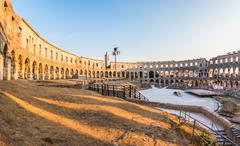 Ancient Roman Amphitheater in Pula, Croatia Stock Photos