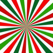 Christmas Colors, colored sun burst background. Stock Illustration