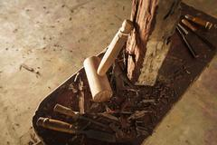 Wood Sculptor Chisel Hammer And Work Tools In Atelier Stock Photos