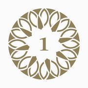 Stock Illustration of Circular motif decorative art design template. Number one element for design,