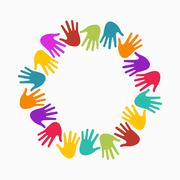 Hands in circle. Concept of group of children, people and union - stock illustration