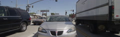 Rear view of a Driving Plate: Car travels on Lincoln Boulevard in Santa Monica, Stock Footage