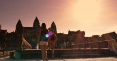 Morning sunrise Angkor Wat Cambodia ancient civilization temple - stock footage