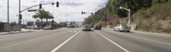 Front view of a Driving Plate: Car travels on Highway 1 in Santa Monica, Stock Footage