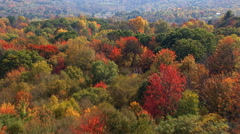 Flight over New England valley in autumn Stock Footage