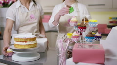 4K Portrait of smiling female business partners with bakery business - stock footage