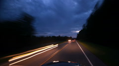Night drive hyperlapse with light streaks Stock Footage