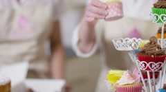 4K Portrait of smiling female business partners with bakery business Stock Footage