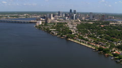 Flight approaching Jacksonville, Florida  from St. John's River. Shot in 2007. Stock Footage