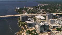 Flight along waterfront of Jacksonville, Florida. Shot in 2007. - stock footage