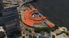 Stock Video Footage of Complete aerial orbit of Jacksonville Landing, Florida. Shot in 2007.