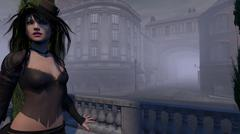 Steampunk Female on Old World Streets of London - stock illustration