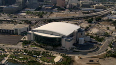 Orbital flight around Tampa, Florida's St. Pete Times Forum - stock footage