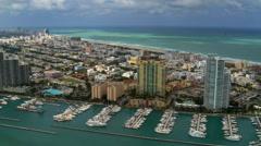 Marinas along waterfront of Miami Stock Footage