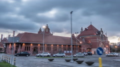 Panorama of The Railway Station Square Buildings of a Station And Parking Car Stock Footage