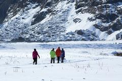 Tourists in wintry Iceland - stock photo