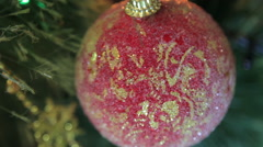 beautiful red Christmas toy on the Christmas tree - stock footage