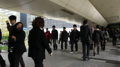 Hong Kong office workers, business district Stock Footage