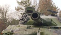Swedish tank Ikv-91 gun turns. Stock Footage