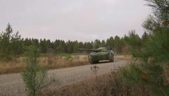 Swedish tank lkv-91 rides on the road. Stock Footage