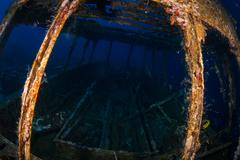 Glassboat wreck - stock photo