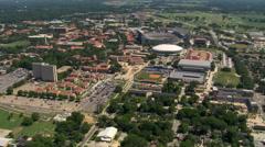 Orbiting LSU campus and Tiger Stadium in Baton Rouge, Louisiana. Shot in 2007. Stock Footage