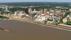 Approaching and orbiting downtown Baton Rouge near Louisiana capitol building. Stock Footage