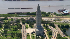 Partial orbit of Louisiana Capitol Building in Baton Rouge. Shot in 2007. - stock footage
