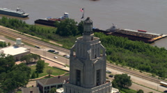 Close orbit around top of Louisiana Capitol Building, Baton Rouge. Shot in 2007. - stock footage
