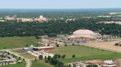 Stock Video Footage of Flight past Cajundome Arena and Convention Center in Lafayette, Louisiana. Shot