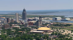 Flight past downtown Mobile, Alabama. Shot in 2007. Stock Footage
