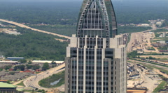 Close orbit of RSA Battle House Tower in downtown Mobile, Alabama. Shot in 2007. Stock Footage