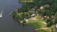 Flying over waterfront homes, Mobile, Alabama. Shot in 2007. Stock Footage