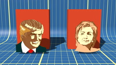 Portrait of  Presidential Candidate Donald Trump and Hillary Clinton with chart Stock Footage