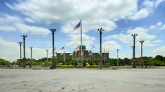 Time lapse of clouds at Putra Square, Putrajaya. - stock footage