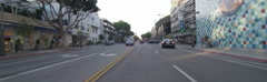 Front view of a Driving Plate: Car travels on 2nd Street in Santa Monica, Stock Footage