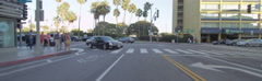 Rear view of a Driving Plate: Car travels on 2nd Street in Santa Monica, Stock Footage