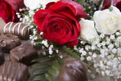 A Red Rose and Sweets Stock Photos