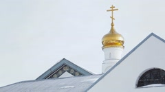 Golden crosses on the top of church Stock Footage
