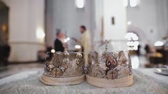 Two beautiful wedding crowns in church Stock Footage