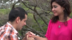 Woman Accepts Marriage Proposal Stock Footage