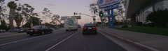 Front view of a Driving Plate: Car travels on Lincoln Boulevard in Santa Monica, Stock Footage